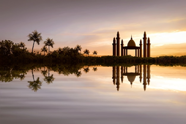 Reflection of beautiful mosque on the water