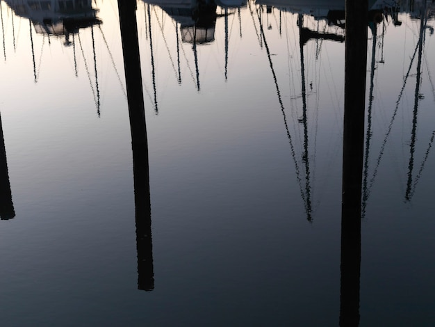 Reflection of boats in vancouver, british columbia, canada