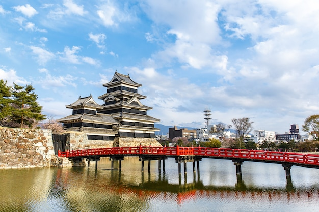 Reflection of matsumoto castle with warm light in morning