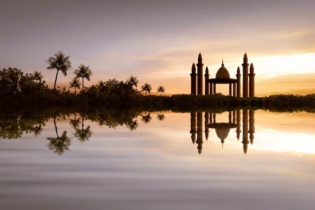 물에 아름 다운 모스크의 반영