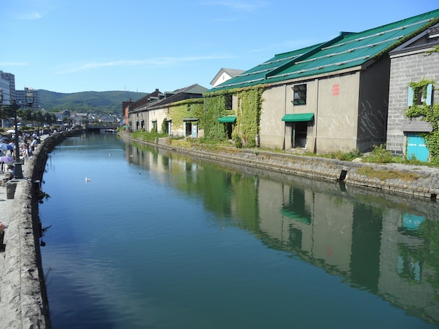 Reflection of the old warehouse along otaru canal, the famous attraction in otaru town