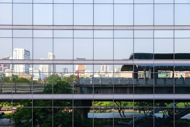 Reflection picture from many mirror on the building see skytrain station