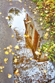 Reflection in a puddle of an old house in autumn