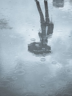 Reflection in a puddle silhouette of a woman with an umbrella. reflection of the silhouette of a man with an umbrella in a puddle. climate change concept.