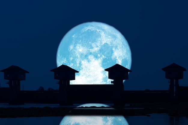 Reflection super blue moon and silhouette dam in the dark night sky,