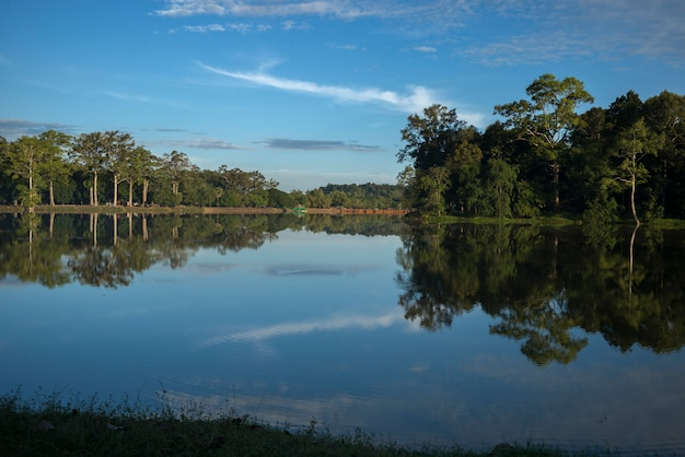 Reflection of trees and clouds on water, tonle sap, siem reap, cambodia