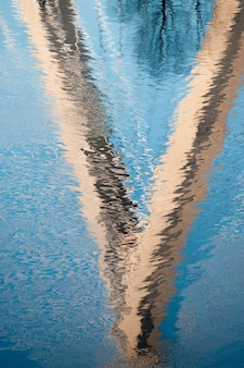 Reflection of zakim bumnker hill bridge in boston, massachusetts, usa