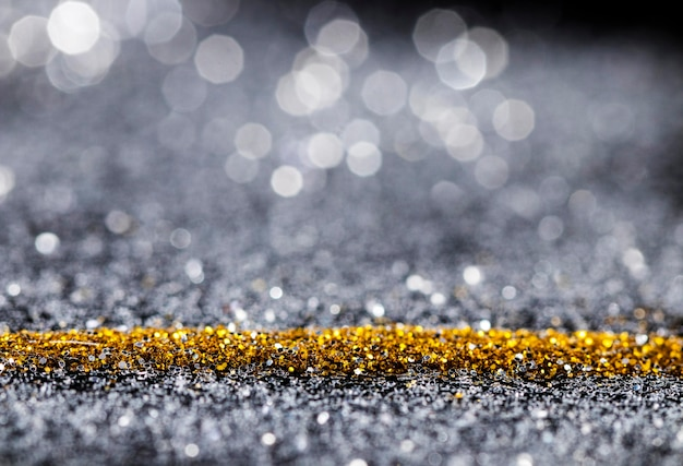 Reflective gold and gray glitter