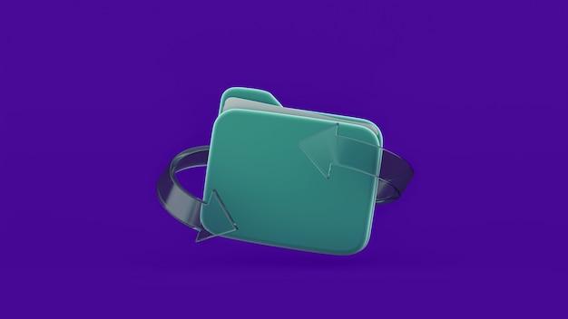Refresh file folder symbol with glass arrow