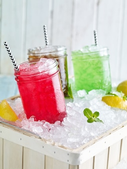 Refreshed mojito cocktails with lime mint and strawberry