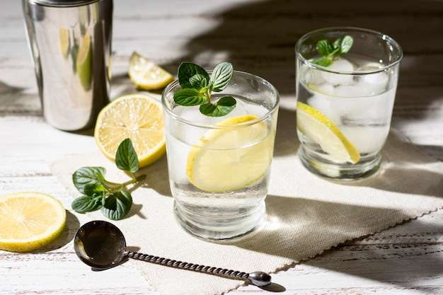 Refreshing alcoholic drinks ready to be served