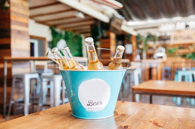 Refreshing beers in bucket