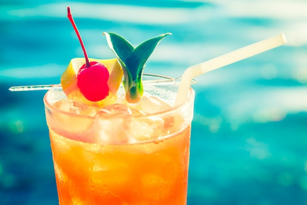 Refreshing cocktail with a cherry