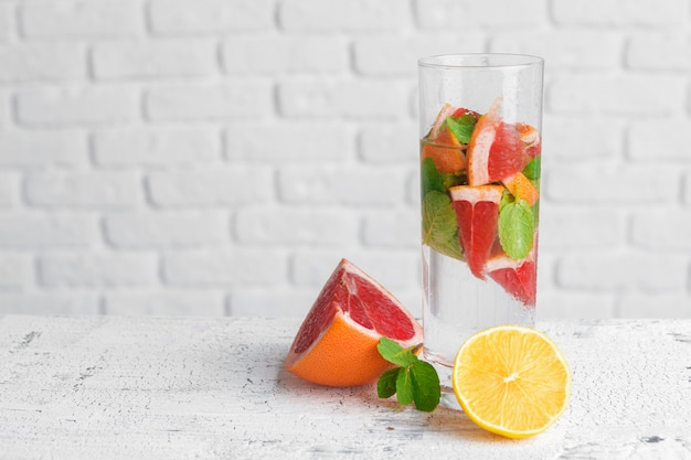 Refreshing cold citrus water with mint