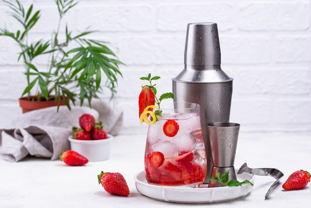 Refreshing cold summer strawberry cocktail