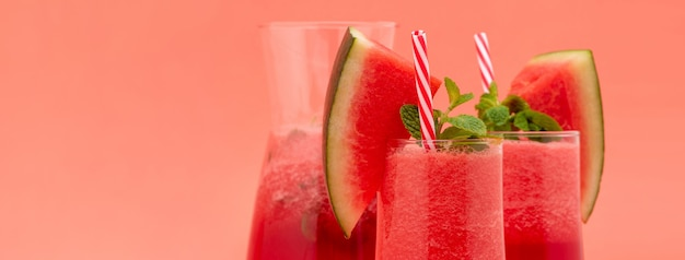 Refreshing cold watermelon fruit juice smoothies drinks