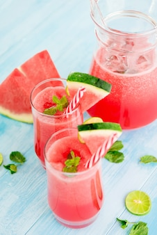 Refreshing cold watermelon juice smoothie drinks for summer