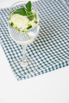 Refreshing drink on table cloth