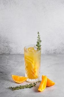 Refreshing drink with lemon and orange