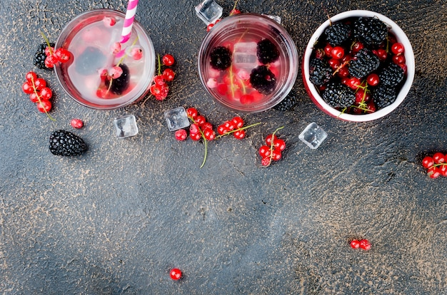 Refreshing drink with red currant and blackberry