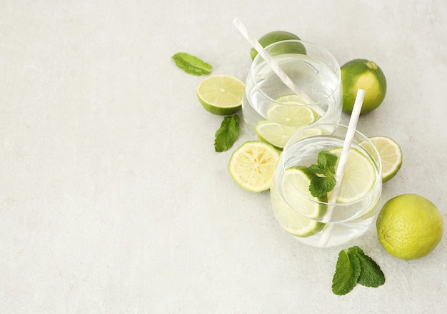 Refreshing drinks with limes