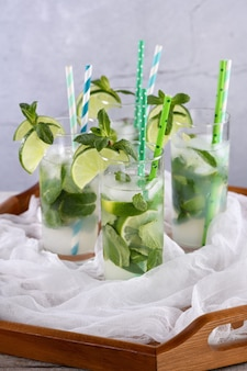 Refreshing infused water with cucumber, mint and lime. summer drink cocktail lemonade. healthy drink and detox concept