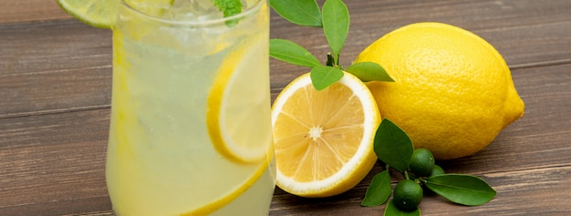 Refreshing lemonade juice drink
