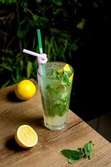 Refreshing lemonade with lemon and mint