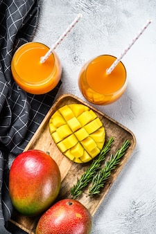 Refreshing mango juice in a glass