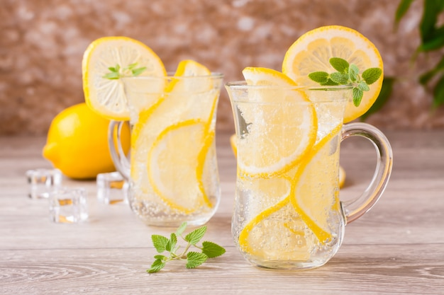 Refreshing mineral water with lemon and mint
