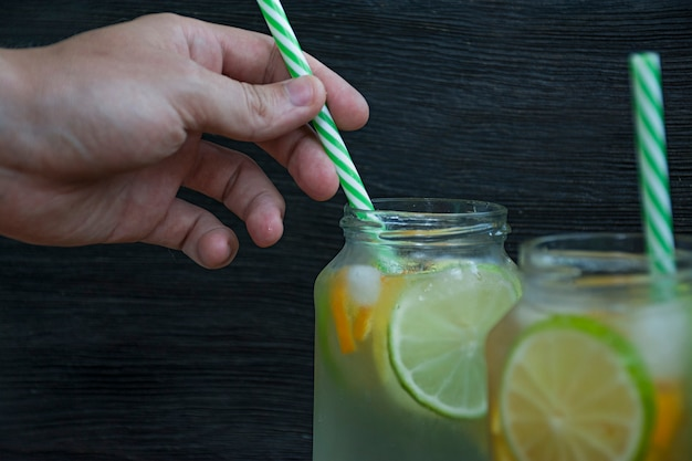 Refreshing summer drink from citrus fruits. drink from lime, lemon, orange.