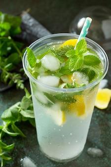 ミントと氷でさわやかな夏の飲み物レモン
