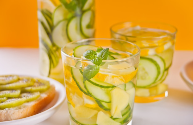 Refreshing summer drink with lemon, ginger, fresh cucumber and mint.