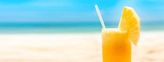 Refreshing tropical pieapple fruit juice smoothie drink