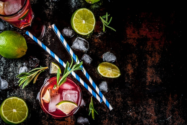 Refreshment alcoholic red cranberry and lime cocktail with rosemary and ice