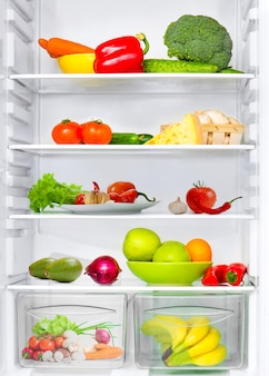 Refrigerator with fresh fruits and vegetables