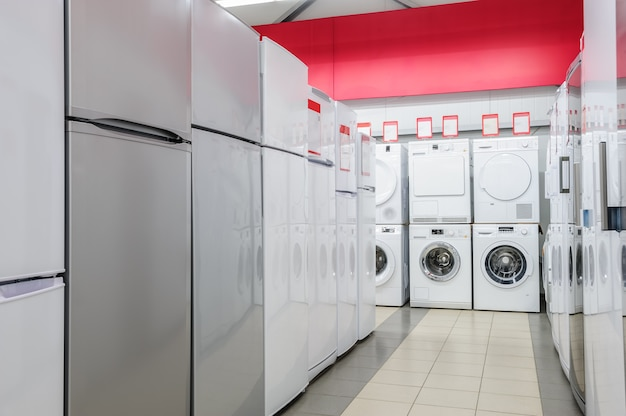 Refrigerators and washing mashines in appliance store