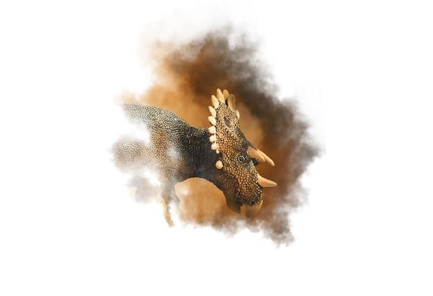 煙の背景にregaliceratops恐竜