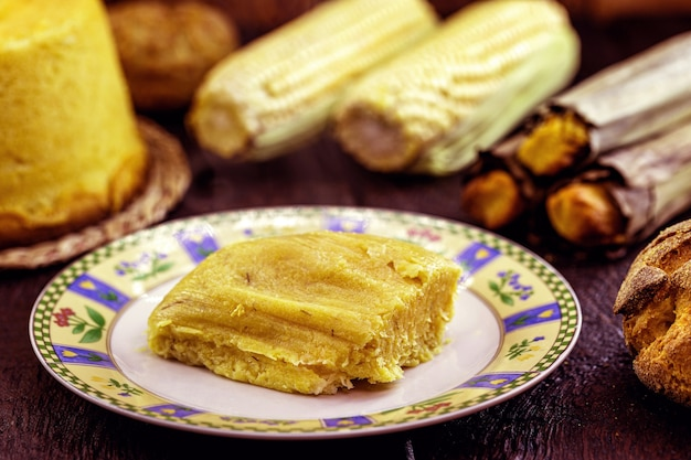 Regional brazilian sweet corn, called pamonha