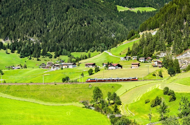 Regional train at the brenner pass in the austrian alps
