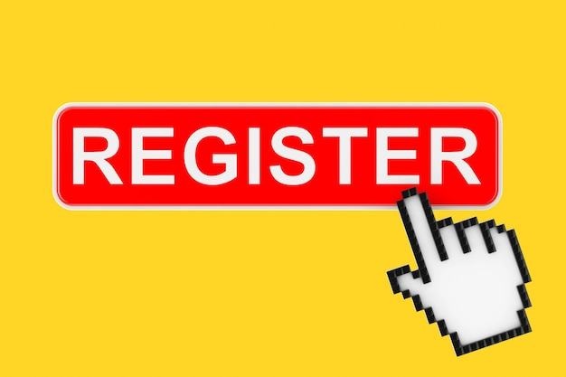 Register button with pixel icon hand on a yellow background. 3d rendering