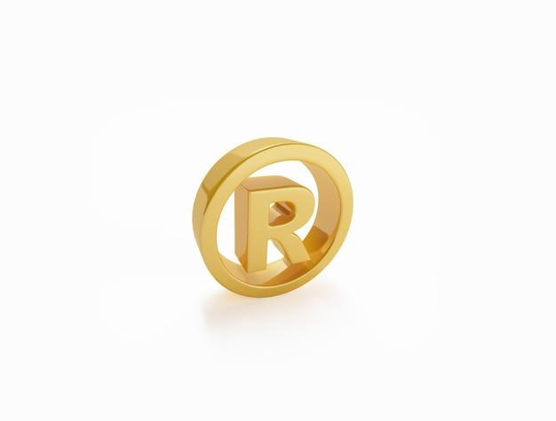 Зарегистрированный товарный знак золотой символ на белой поверхности