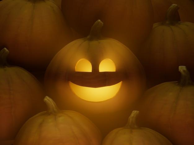 일반 미소 조각 호박 얼굴 이모티콘 3d 그림 렌더링 어두운 조명