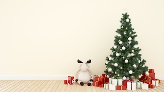 Reindeer doll with christmas tree and gift in living room