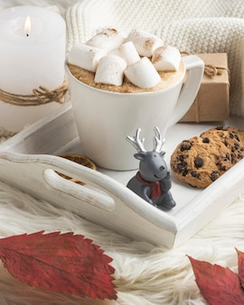 Reindeer figurine with cup of hot cocoa and present on tray