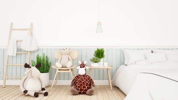 Reindeer with giraffe and bear doll in kid room or bedroom-3d rendering