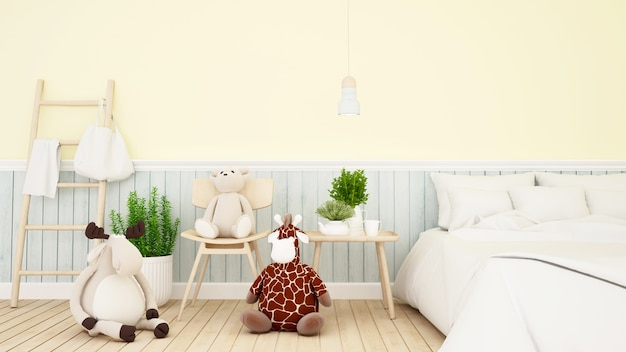 Reindeer with giraffe and bear doll in kid room or bedroom