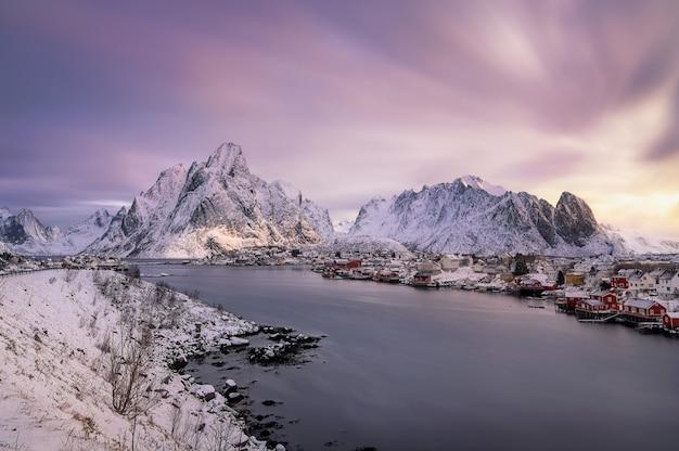 Reine village in winter.