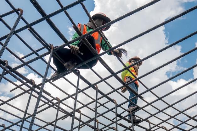 A reinforced steel re bar  foundation work
