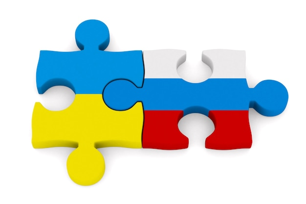 Relations between russia and ukraine on white space. isolated 3d illustration